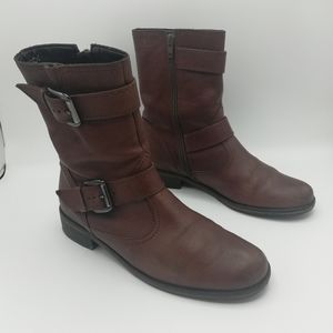 Gabor Leather Moto/Biker Boots With Buckles Brown